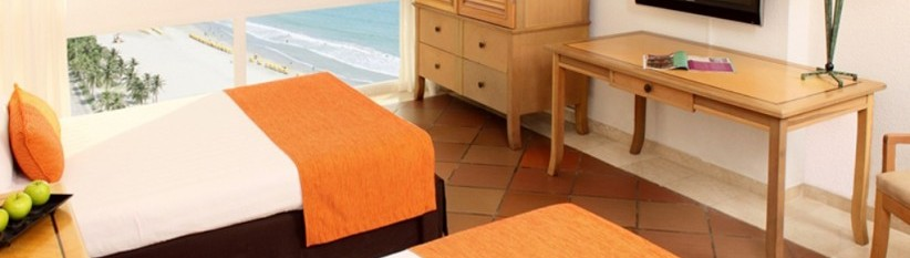 Habitación Superior Twin con vista al mar.  Fuente: hotelalmirantecartagena.com.co